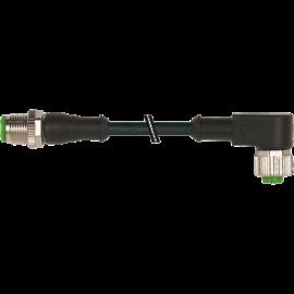 M12 apa 0° / M12 anya 90° 5 m, 4 p- 0,34 mm2 kábel